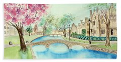 Beach Towel featuring the painting Summer In Bourton by Elizabeth Lock