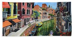Beach Towel featuring the painting Summer In Venice - Venezia - Dreaming Of Italy by Jan Dappen