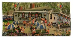 Beach Towel featuring the painting Summer Memories At Pizzi Farm by Rita Brown