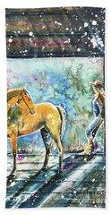 Beach Towel featuring the painting Summer Morning At The Barn by Zaira Dzhaubaeva