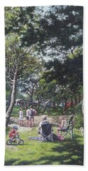 Beach Towel featuring the painting Summer New Forest Picnic by Martin Davey