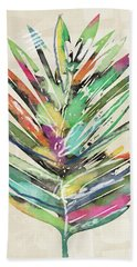 Beach Towel featuring the mixed media Summer Palm Leaf- Art By Linda Woods by Linda Woods
