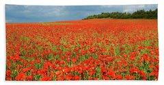 Summer Poppies In England Beach Towel