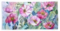 Beach Towel featuring the painting Summer Poppies by Iya Carson