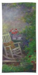 Beach Towel featuring the painting Summer Porch And Rocker by Judith Cheng