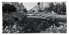 Beach Towel featuring the photograph Summer Prague. Black And White by Jenny Rainbow