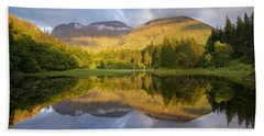 Summer Reflections At The Torren Lochan Beach Towel