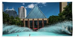 Beach Towel featuring the photograph Summer Splash Downtown Edmonton by Darcy Michaelchuk