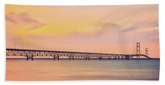 Summer Sunset At Mackinac Bridge Beach Towel