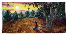 Summer Sunset Meditation Beach Towel