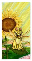 Beach Towel featuring the painting Summer Sunshine Fairy Cat by Carrie Hawks