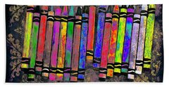 Beach Towel featuring the digital art Summer's Crayon Love by Iowan Stone-Flowers