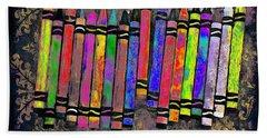Summer's Crayon Love Beach Towel by Iowan Stone-Flowers