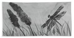 Beach Sheet featuring the painting Summertime Dragonfly Black And White by Robin Maria Pedrero