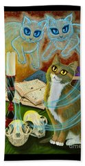 Summoning Old Friends - Ghost Cats Magic Beach Towel