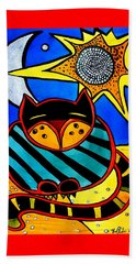 Sun And Moon - Honourable Cat - Art By Dora Hathazi Mendes Beach Towel