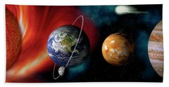 Sun And Planets Beach Sheet by Panoramic Images