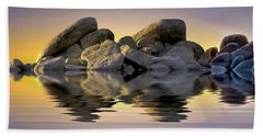 Sun Bathed Rocks Beach Towel