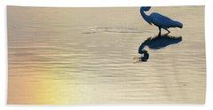Sun Dog And Great Egret 1 Beach Sheet
