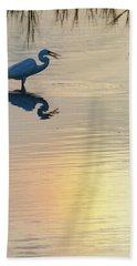 Sun Dog And Great Egret 4 Beach Sheet