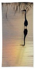 Sun Dog And Great Blue Heron 1 Beach Sheet