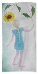 Beach Sheet featuring the painting Sun Flower Dance by Tone Aanderaa