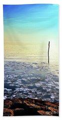 Sun Going Down In Calm Frozen Lake Beach Towel