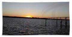 Sun Going Down Near Gov Thomas Johnson Bridge Beach Sheet