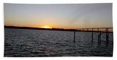Sun Going Down Near Gov Thomas Johnson Bridge Beach Towel