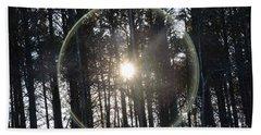 Sun Or Lens Flare In Between The Woods -georgia Beach Sheet