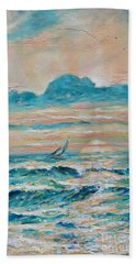 Beach Towel featuring the painting Sun Rays by Linda Olsen