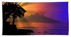 Beach Towel featuring the photograph Sun Rays Sunset by Lori Seaman