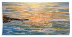 Beach Sheet featuring the painting Sun Rise Sun Set by Greg Moores