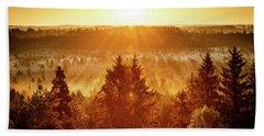 Sun Rising At Swamp Beach Towel by Teemu Tretjakov
