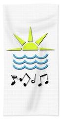 Beach Towel featuring the digital art Sun, Sea And Music by Linda Prewer