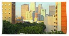 Sun Sets On Downtown Los Angeles Buildings #1 Beach Towel