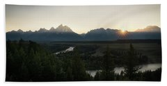 Sun Setting Over The Teton Range Beach Sheet