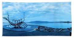 Sun Voyager Viking Ship In Iceland Beach Sheet by Joe Belanger