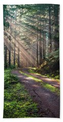 Sunbeam In Trees Portrait Beach Towel