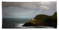 Beach Towel featuring the photograph Sunbeam On The Lighthouse by Mary Jo Allen