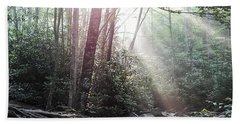 Sunbeam Streaming Into The Forest Beach Towel