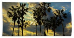Beach Sheet featuring the photograph Sunbeams And Palm Trees By Cabrillo Beach by Randall Nyhof