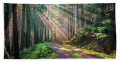 Sunbeams In Trees Beach Towel