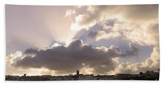 Sunbeams Over Church In Color Beach Towel by Nicholas Burningham