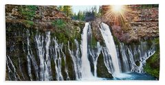 Sunburst Falls - Burney Falls Is One Of The Most Beautiful Waterfalls In California Beach Towel