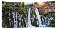 Sunburst Falls - Burney Falls Is One Of The Most Beautiful Waterfalls In California Beach Towel