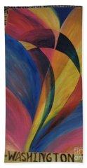 Sunburst Floorcloth Beach Sheet by Judith Espinoza