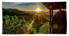 Sunburst View From Dellas Boutique Hotel Near Meteora In Kastraki, Kalambaka, Greece Beach Sheet
