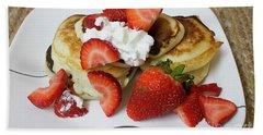 Sunday Breakfast - Food- Kitchen Art Beach Towel by Anne Rodkin