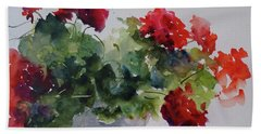 Sunday Morning Geraniums Beach Sheet by Sandra Strohschein